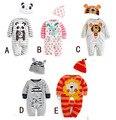 2 UNIDS/0-24 M/primavera otoño 2016 niños ropa de bebé recién nacido chicas chicos mamelucos + sombrero de manga larga mono infantil de la ropa