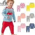 Розничная 2 компл./упак. 0-24месяцев с длинными Рукавами майка + длинные брюки Детские Младенческой новорожденных одежда для мальчиков девочек одежда весна осень