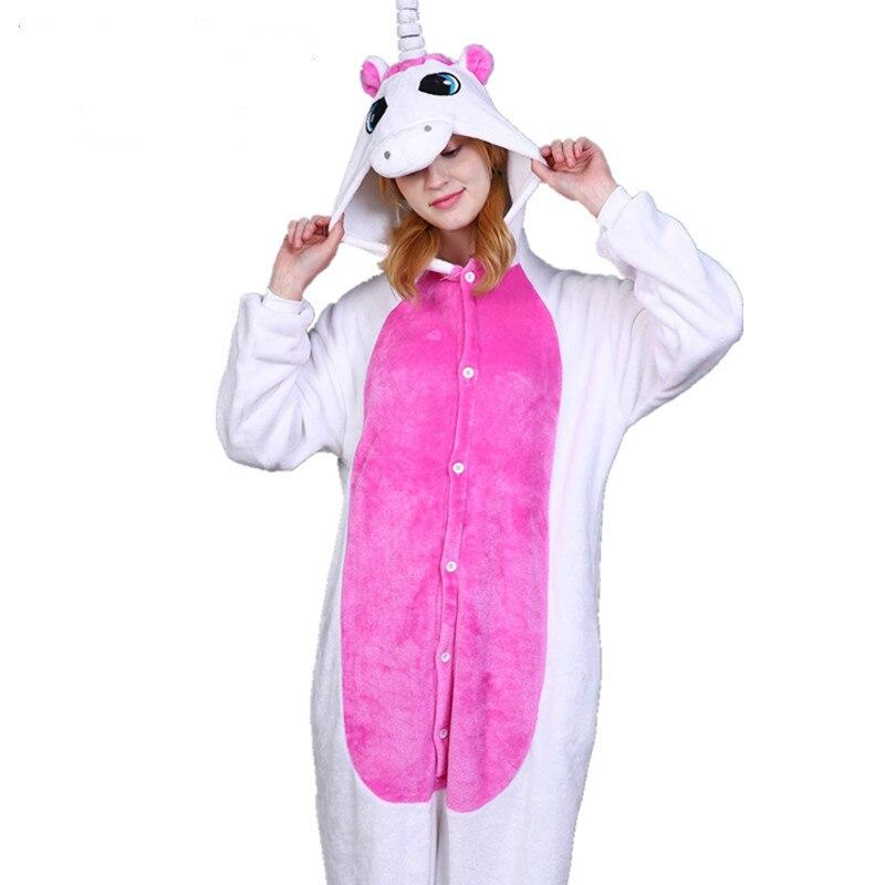 Women Men Flannel Sleepwear Animal Stitch Unicorn Tiger Dinosaur Onesie Adult Pajamas Wholesale