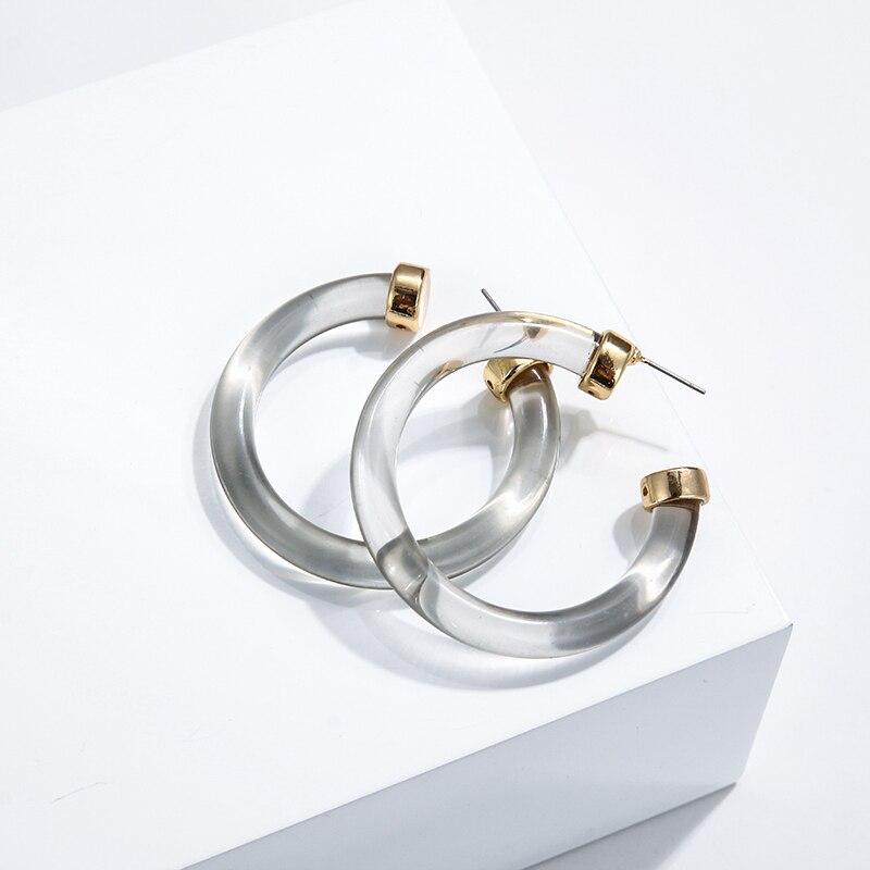 YMYW New Fashion Simple C Shaped Transparent Acrylic Stud Earrings Zinc Alloy Statement Geometric Earrings for Women Oorbellen in Stud Earrings from Jewelry Accessories