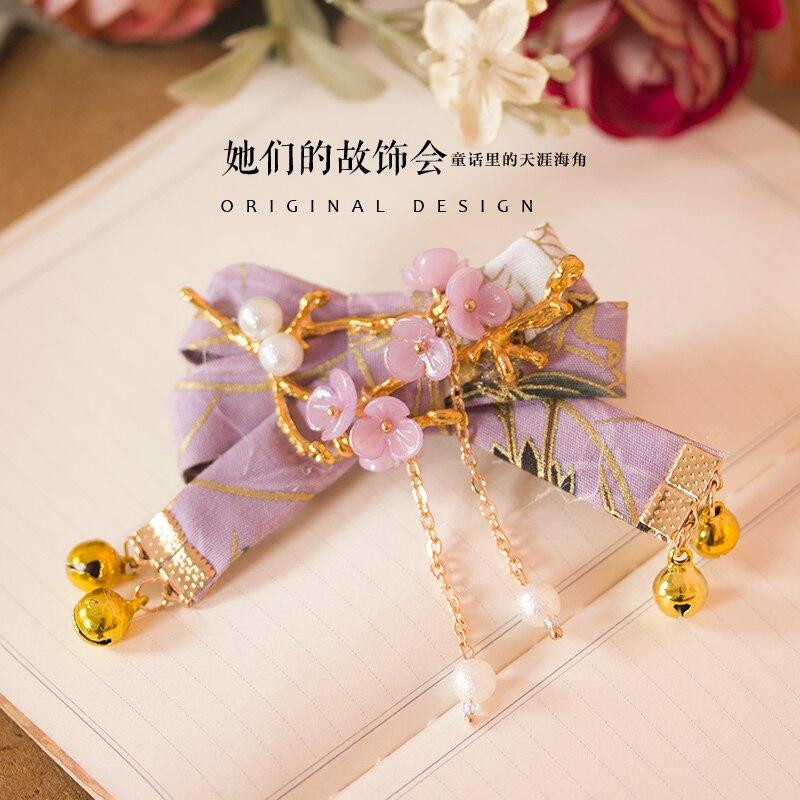 Princess sweet lolita hairband light purple bow hand hairpin pearl flower hand head hair accessories GSH132