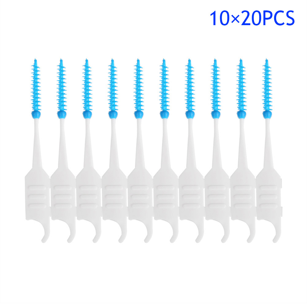 200Pcs/Box Toothpicks Plastic Silicone Dental Floss Teeth Stick Brush Disposable Oral Care Tooth Interdental Clean brush HB88