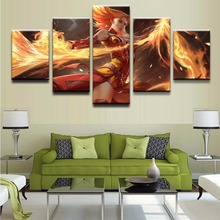 Modern Printing Type Poster Canvas Painting 5 Panel DOTA2 Lina Pictures HD Printed Wall Art Modular Home Decor