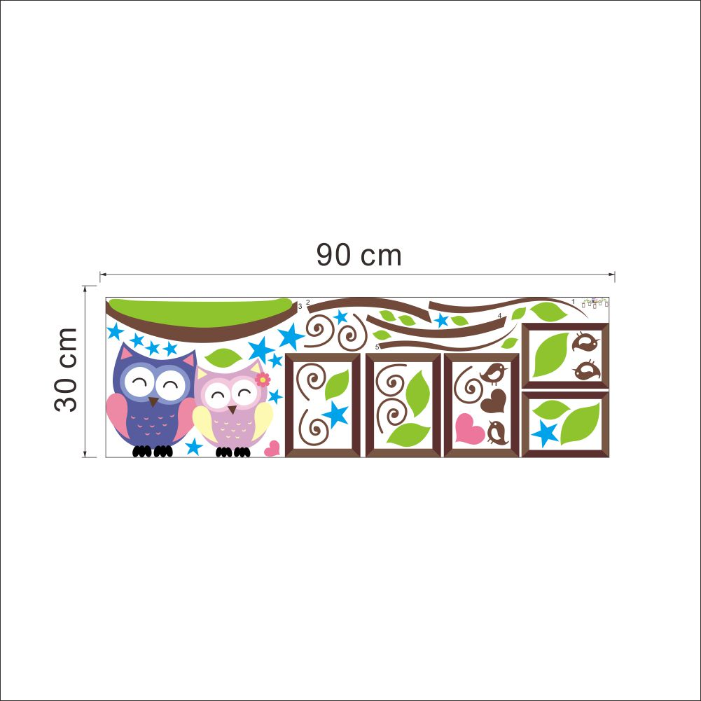 owls photo frame wall stickers home decoration bedrrom. Black Bedroom Furniture Sets. Home Design Ideas