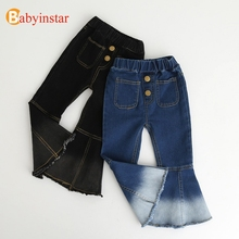 Джинсовые штаны для девочек, Повседневные детские осенние брюки, джинсы с колокольчиками для девочек, детские штаны для девочек