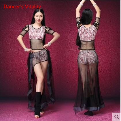 2017 new Women 2-Piece Belly Dance Costume Net yarn Top+Short Skirt Sexy Belly Dancer Practice Show dance dress women s fashionable sexy maid style net yarn sleep dress black white