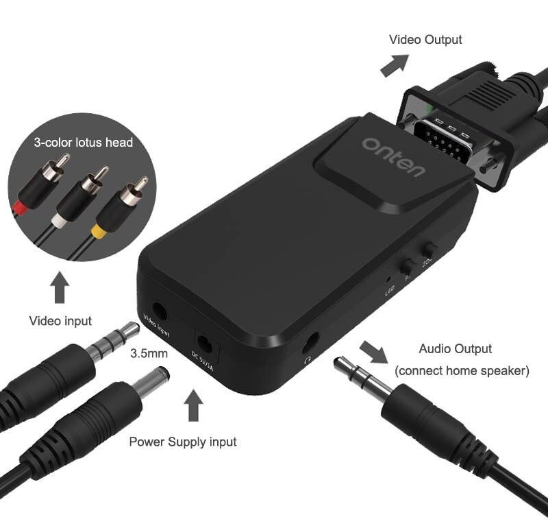 ONTEN RCA composite AV to VGA video converter Adapter for DVD VCD Webcam set top box