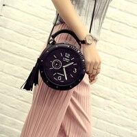 Women Handbag Leather Shoulder Messenger Bags Clock Models Famous Cartoon Round Style Fashion Crossbody Tassen Summer
