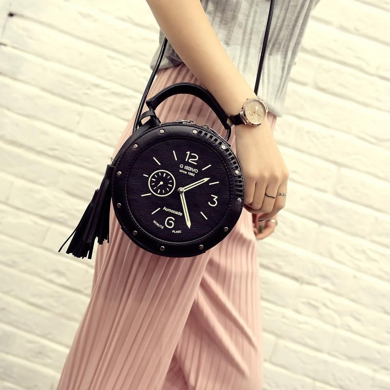 Women Leather Shoulder Messenger Bags Clock Models Famous Cartoon Round Style Fashion 2016 Popular Crossbody Tassels