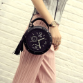 Women Leather Shoulder Messenger Bags Clock Models Famous Cartoon Round Style Fashion 2016 Popular Crossbody Tassels  Hot Sale