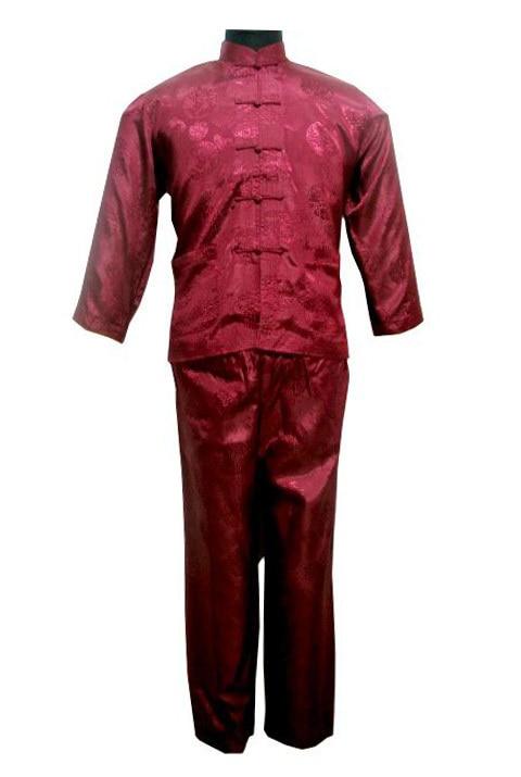 Free Shipping ! Burgundy Men's Polyester Satin Pajama Sets Jacket Trousers Sleepwear Nightwear SIZE S M L XL XXL XXXL M3024