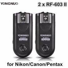 Yongnuo 2 шт. RF-603 II Вспышка триггера трансивер набор, Спусковое устройство затвора для Canon Nikon Pentax DSLR Камера RF-603 II C1 C3 N1 N3
