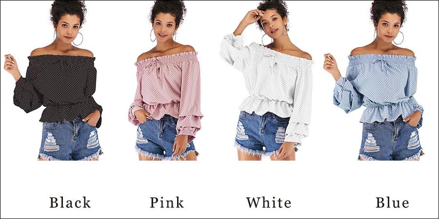 Gladiolus Chiffon Blouse Women 2019 Spring Autumn Long Sleeve Polka Dot Off Shoulder Sexy Blouses Women Shirts Ruffles Blusas (33)