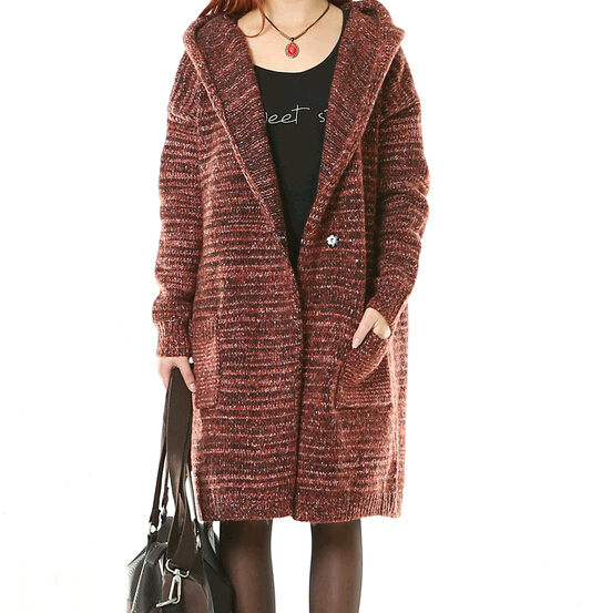 Sweater Coat With Hood Womens