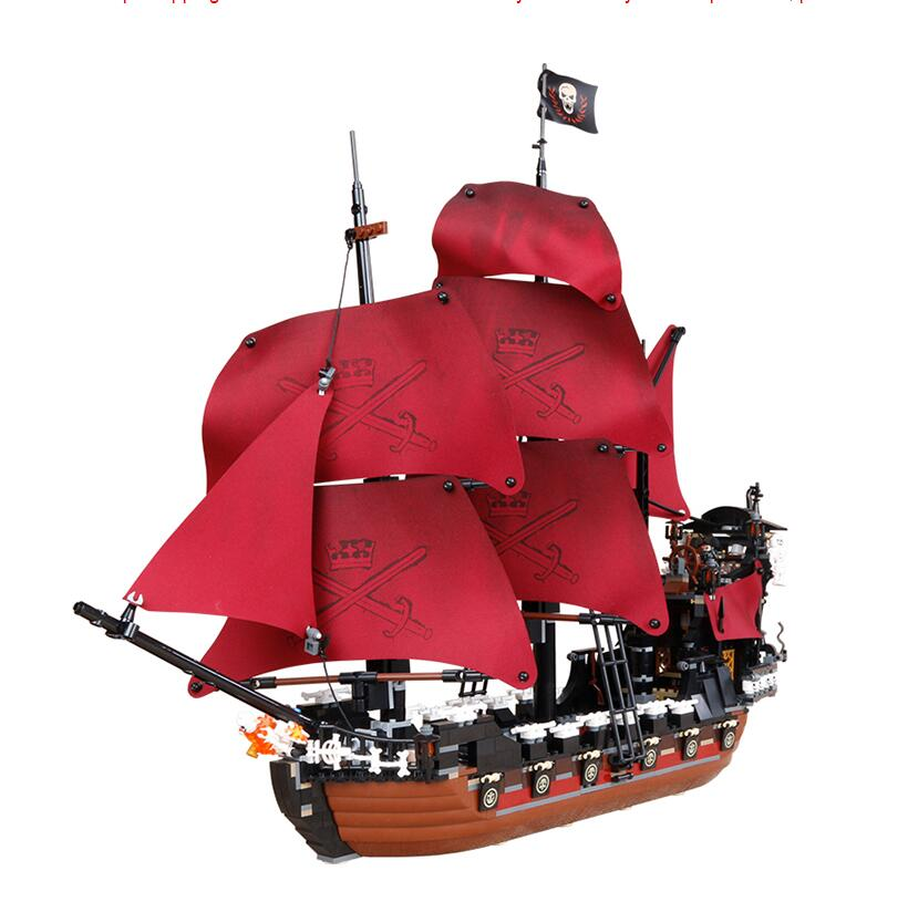 16009 1151pcs Queen Anne's revenge Pirates of the Caribbean Building Blocks Set Bricks Toys for Children Christmas gifts lepin 16009 caribbean blackbeard queen anne s revenge mini bricks set sale pirates of the building blocks toys for kids gift