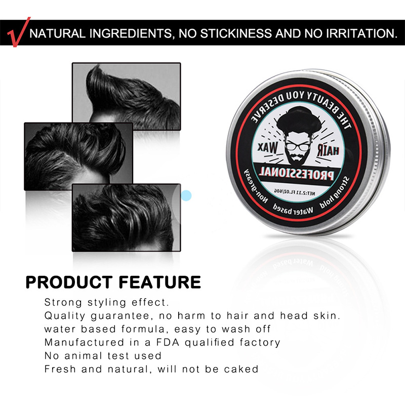 60g Strong Hold Hair Gel Wax For Hair Men Long lasting Dry Stereotypes Type Hair Balsam Oil Wax For Hair Styling Edge Control