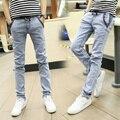 Algodão calças de Brim Dos Homens Com Cordão Calças Lápis 2016 Novo Denim Magro calças Sólidos Calças Compridas Homens Jeans Casual Azul Cinza Tamanho 38