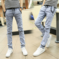 Cotton Mens Jeans Drawstring Pencil Pants 2016 New Slim Denim Trousers Solid Long Pants Men Casual Jeans Grey Blue Size 38