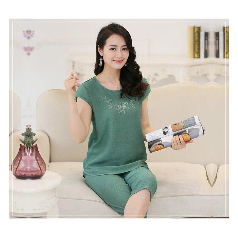 Women Pyjamas Home Clothes Plus Size Sleepwear Set Short Sleeve Pajamas For Women Pijama Sets Cotton Linen Pijamas XL-4XL