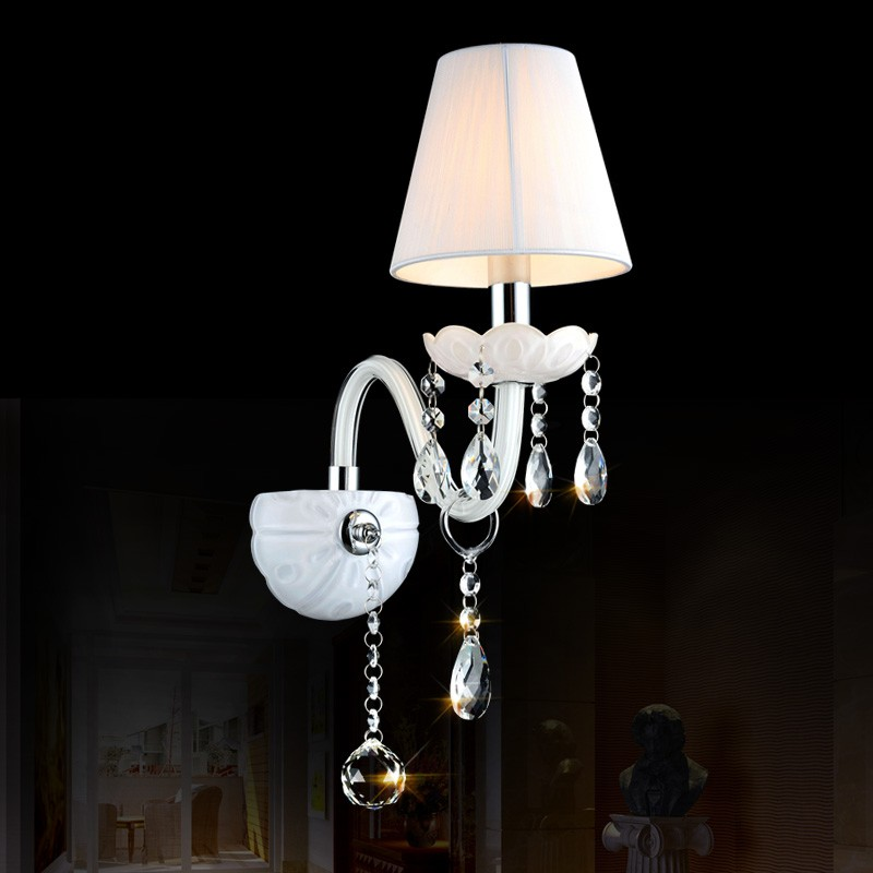 Single Head European K9 Crystal Wall Lamps Black/White/Transparent wall light with cloth lampshade bedroom wall lamp the ivory white european super suction wall mounted gate unique smoke door