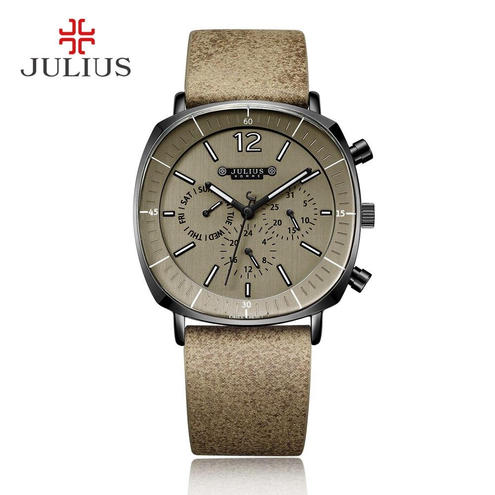 Мужские бизнес часы JULIUS, 3 циферблата, с кожаным ремешком, квадратным циферблатом, кварцевые наручные часы, подарочные часы, для мужчин, с хро