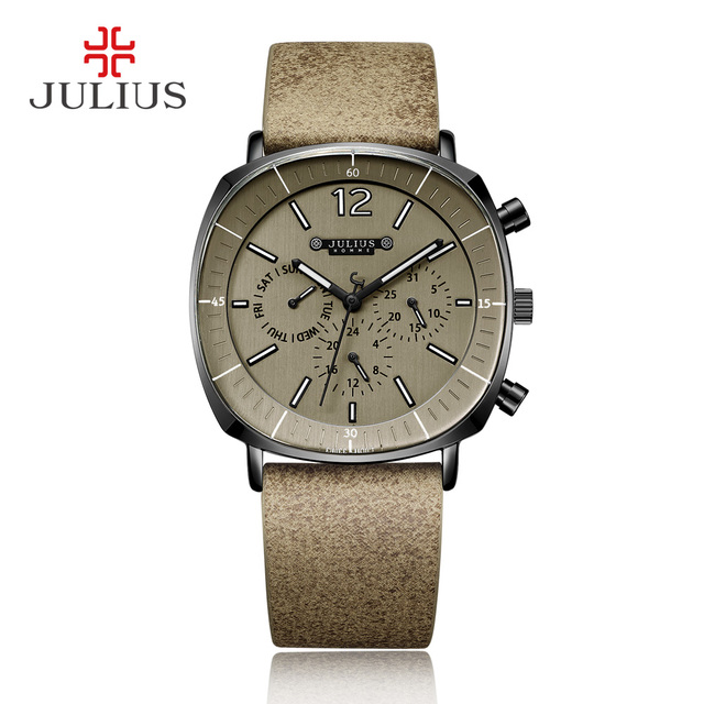 Julius Real Chronograph Men S Business Watch 3 Dials Leather Band