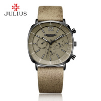 JULIUS Real Chronograph Men's Business Watch 3 Dials Leather Band Square Face Quartz Wristwatch High Quality Watch Gift JAH 098
