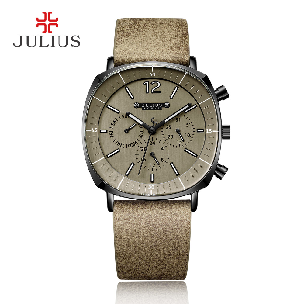 JULIUS Real Chronograph Men's Business Watch 3 Dials Leather Band Square Face Quartz Wristwatch High Quality Watch Gift JAH-098