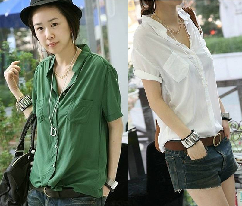 free shipping 2013 Blouses summer women's fashion casual stand ...