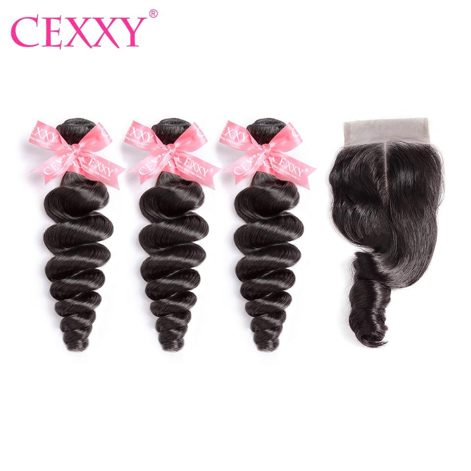Cexxy Hair Weave Bundles Human Hair Bundles With Closure Peruvian Loose Wave Hair Extension Virgin Hair