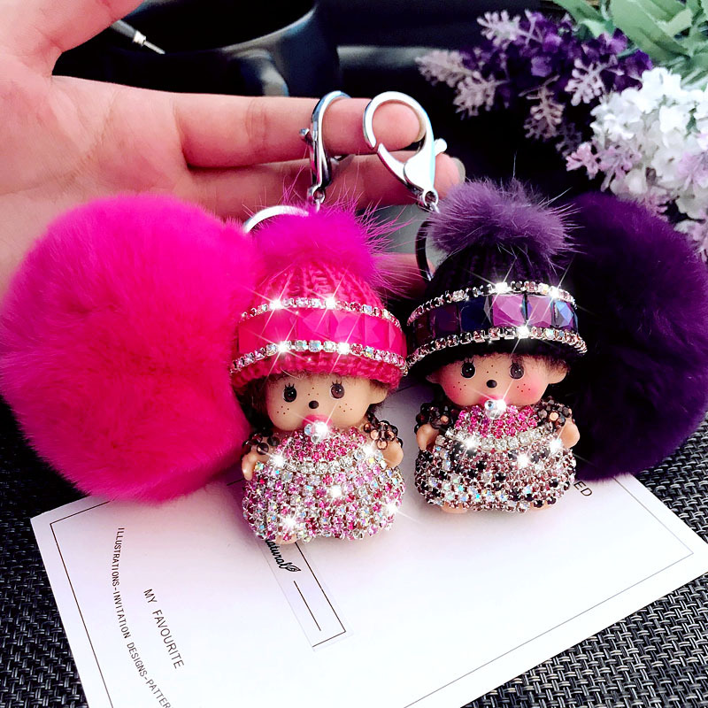 все цены на Cute Rhinestone Monchichi Keychain Pompom Rabbit Fur Ball Key Ring Pendant for Women Bag Handbag Purse Backpack Car Ornament