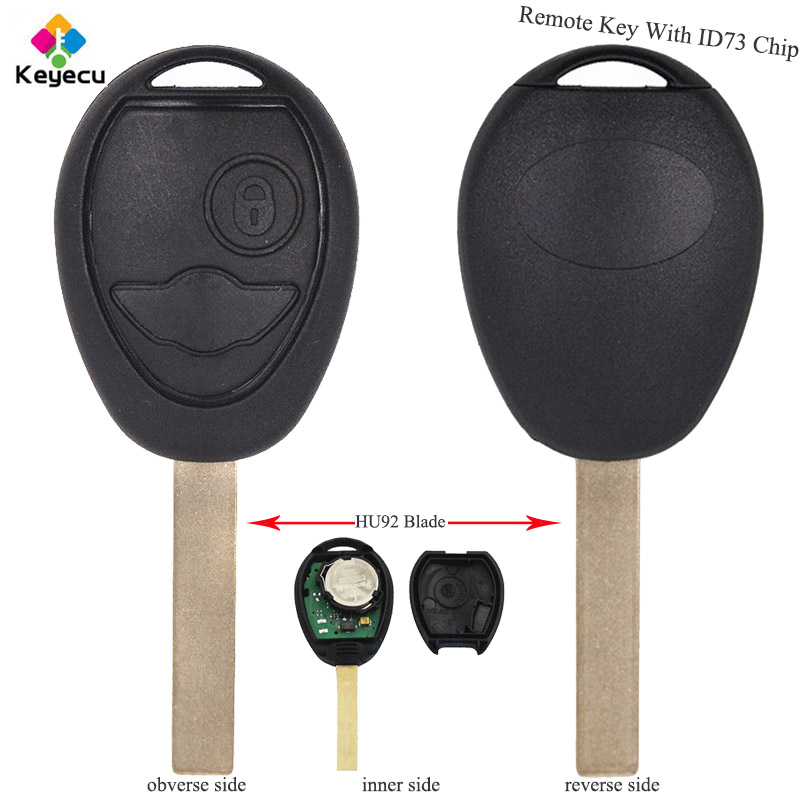 KEYECU Replacement Remote Key - 2 Buttons & 433MHz & ID73 Chip & Uncut HU92 Blade - FOB for BMW Mini Cooper 2002 2003 2004 2005 atos lombardini комплект