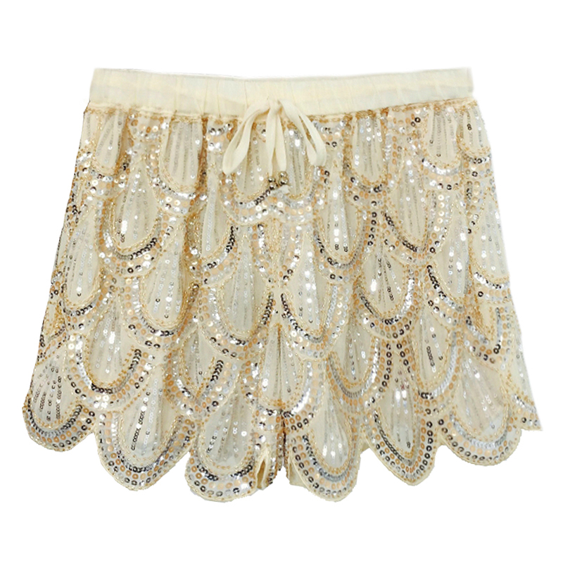Summer Korean Style Ladies Woman Black Beige Sequine Loose Hot Shorts , Fashion Casual Female Womens Embroidery Glitter Shorts