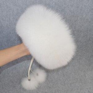 Image 3 - 2020 w nowym stylu zima rosyjski 100% naturalne prawdziwe futro z lisa kapelusz kobiety jakości prawdziwe futro z lisa Bomber kapelusze dziewczyna prawdziwe prawdziwe futro z lisa Cap