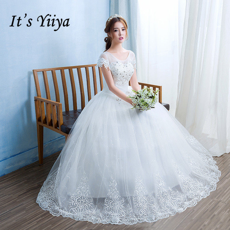 9778c535264 Free Shipping New 2017 Real Photo O-neck Short Sleeves Romantic Bride Gowns  White Princess
