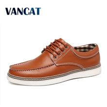 VANCAT Big Size Men Casual Leather Shoes High Quality Genuine Leather Shoes Designer Men Loafers Luxury Brand Men Flats Shoes