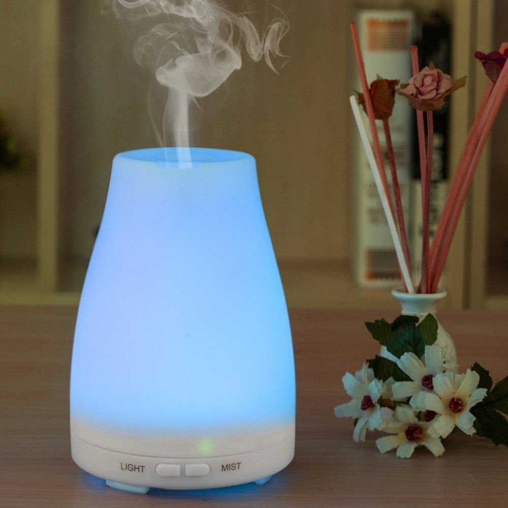 Ultrasonic font b Humidifier b font Aromatherapy Oil Diffuser Cool Mist With Color LED Lights essential