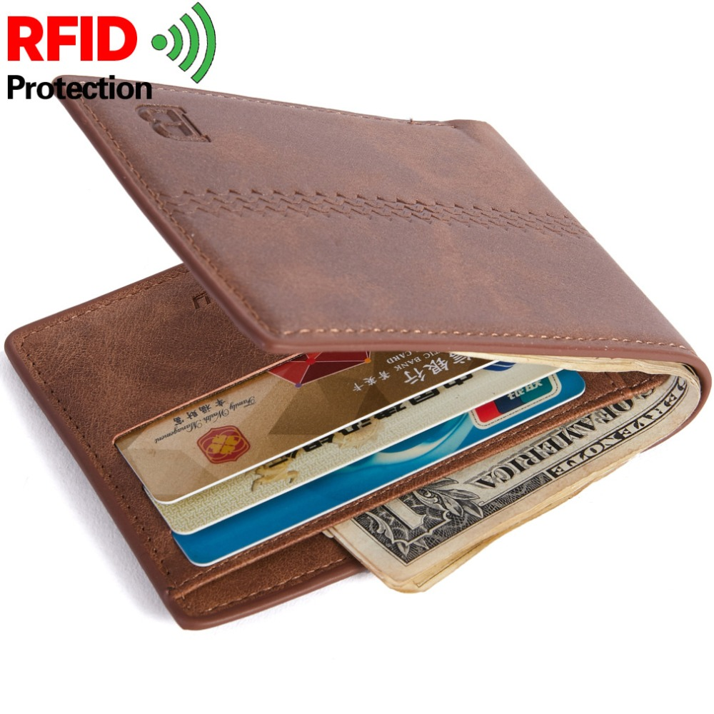 Money Purse Short Zipper RFID Fashion Card-Holder Coin-Bag Men W358