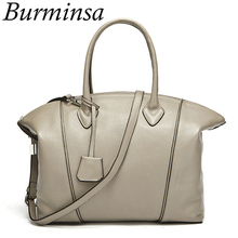 Burminsa Brand Lock Celebrity 100% Genuine Leather Bags Designer Handbags High Quality Tote Shoulder Bags Women Messenger Bags