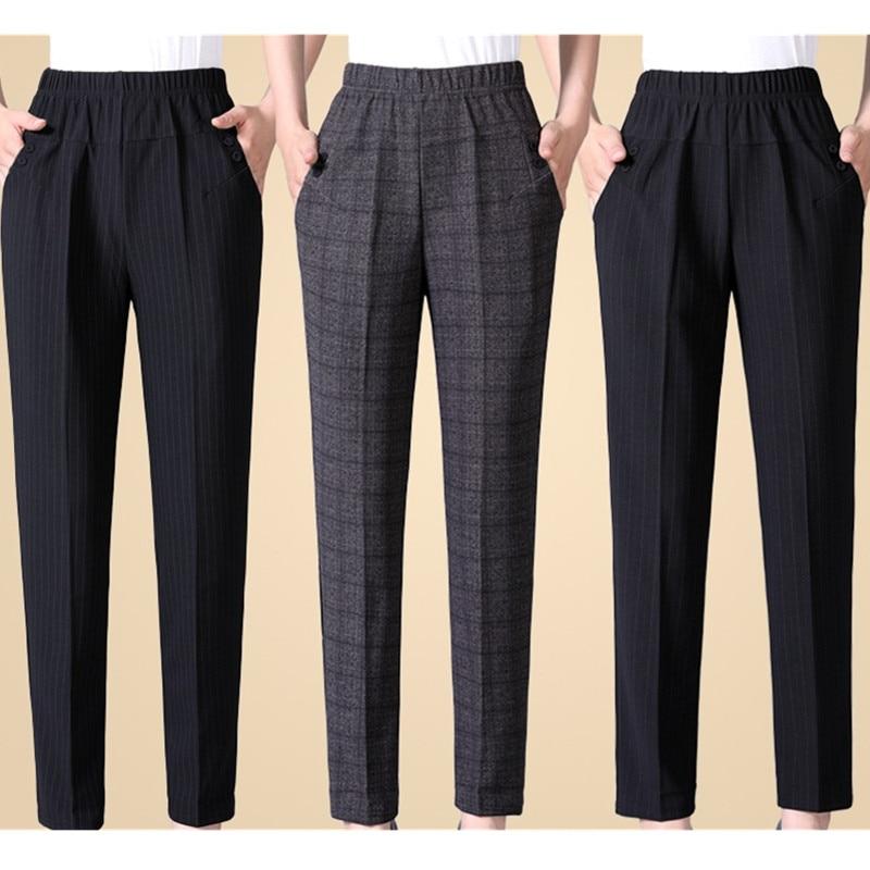 Middle-aged Women Autumn Winter Trousers Big Size Loose Plus Velvet Elastic Waist Pants Black Female  Ankle-length Trousers 5XL
