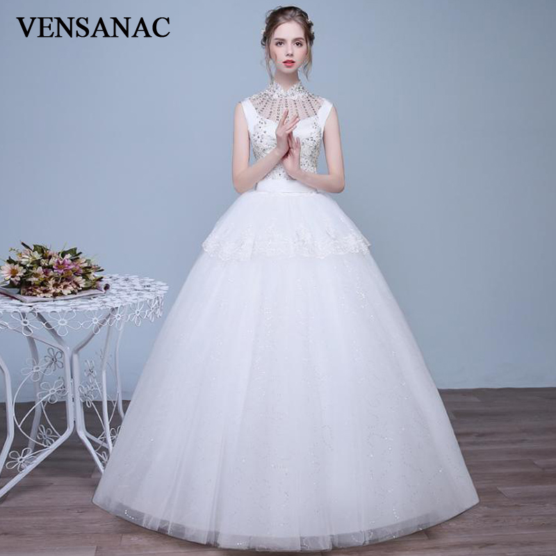 VENSANAC 2018 Crystal High Neck Tiered Lace Appliques Ball Gown Wedding Dresses Sequined Sash Open Back Bridal Gowns
