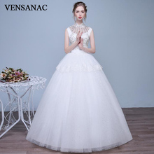 VENSANAC 2018 Crystal High Neck Tiered Lace Appliques Ball Gown Wedding Dresses Sequined Sash Open Back Bridal Gowns все цены