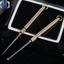 Латунный портативный водонепроницаемый склад титановая зубочистка комбинация один держатель для зубочистки титановая Ушная ложка+ латунный бочонок