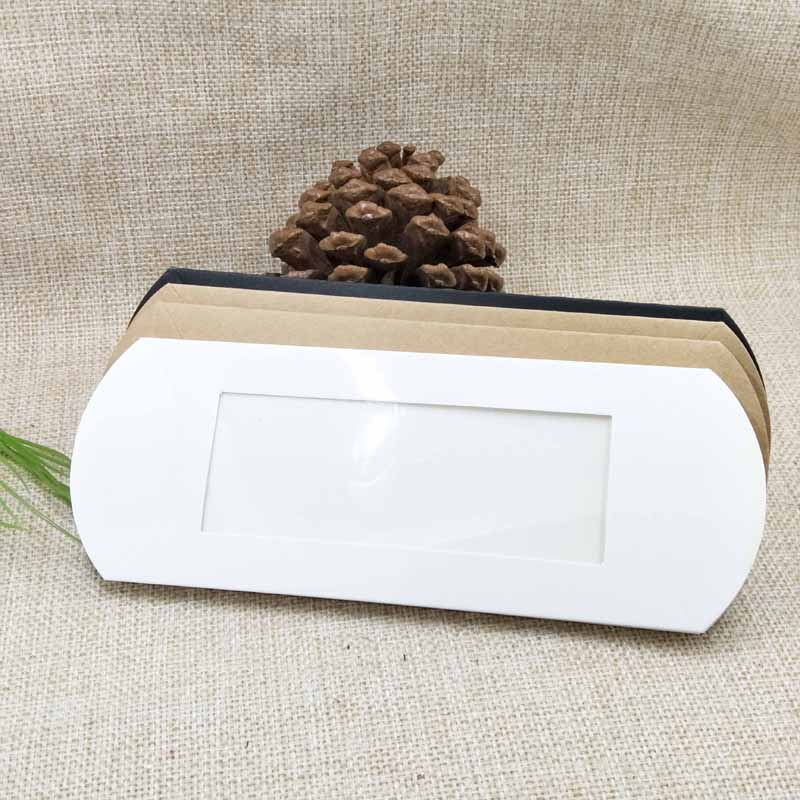 10pc 16*7*2.4cm brown/white/black cardboard pillow window box with clear pvc for proucts/gifts/favors/display packing show 22