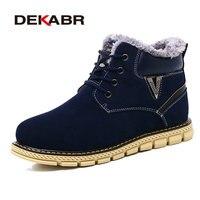 DEKABR Kış Erkekler Boots Yeni Stil Ayakkabılar El Yapımı Yüksek Kalite Supper Sıcak Erkek Ayakkabı Dantel-Up Rahat Ayak Bileği Çizmeler Artı Boyutu 38-45