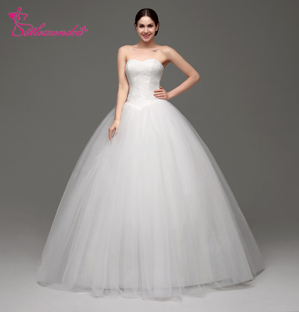 Alexzendra Stock Dresses Sweetheart Ball Gown Wedding Dress Tulle Princess Bridal Gowns Ready to Ship