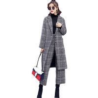 Autumn Winter Wool Lattice Jacket + Wide Leg Pants Women Two piece set Tracksuit 2017 Thick Fashion Femme 2 piece set Crop Top