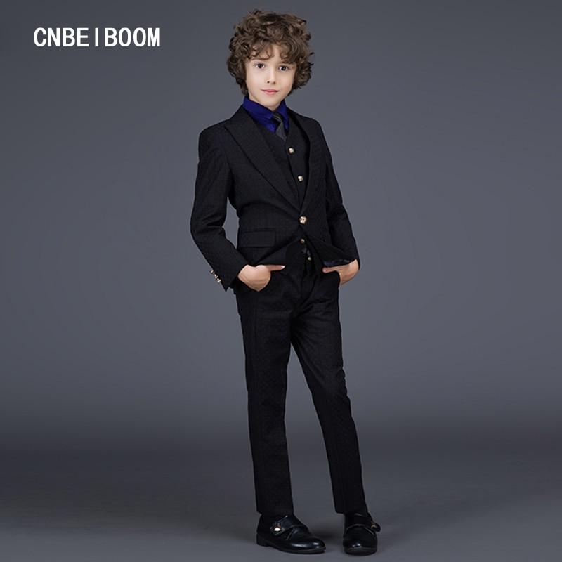 ФОТО Fashion 3 Piece Suits Gentleman Style Children Clothing Set (Jacket+Pants+Vest) Sets Suit Kids Slim Wedding Suit Tuxedo Clothes