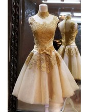 High Neck Gold Lace Short Homecoming Dresses 2015 Tull A-line Backless Party Dress Prom 2016