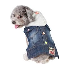 Fahion Dog Clothes Cowboy Vests Pet Clothes Spring and Autumn Hooded Jacket Dog Apparel Denim Jacket for Pet(China)